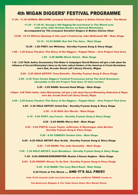 4th Wigan Diggers' Festival Final Programme