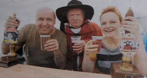 Actors James Quinn, John Graham Davies & Maxine Peake serve the first pints of Gerrard Winstanley and Diggers 1649 Ales at the 2nd Wigan Diggers' Festival in 2012